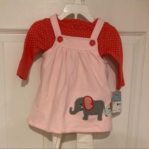Carter's 3 Piece Outfit -  Pink Elephant Dress